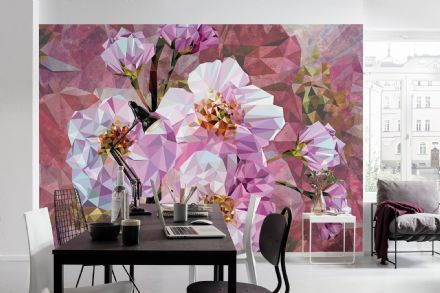 Non-woven wallpaper Blooming Gems Pink Flowers